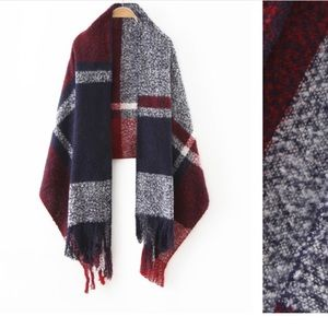 Accessories - Navy Tone Plaid Long Fringe Scarf